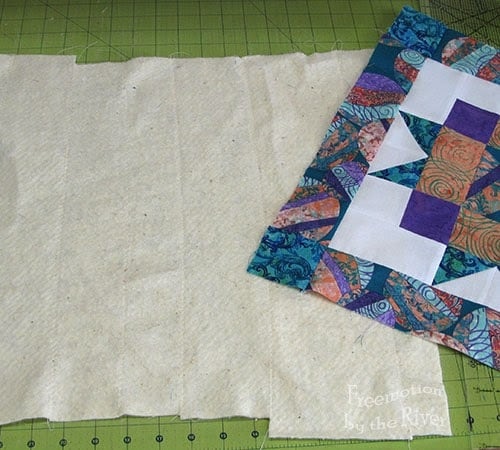 Pieced batting used for quilt pillow
