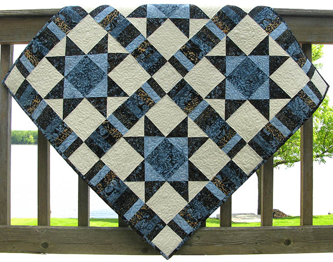 Ohio Star River Espresso quilt on deck tutorial