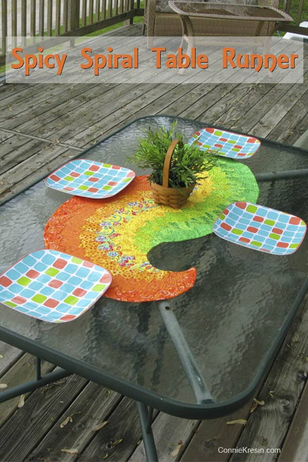 Spicy Spiral table runner on table