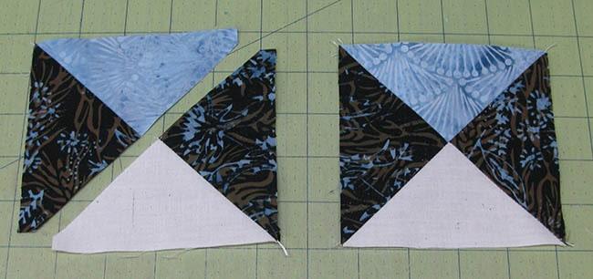 Making the Ohio Star quilt block quarter square blocks