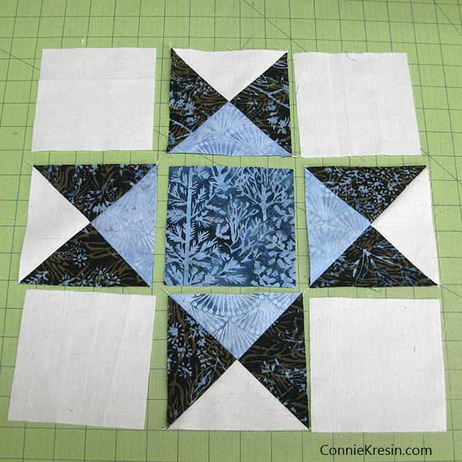 Making the Ohio Star quilt block sections of block