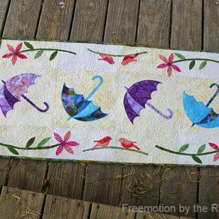 Dancing Umbrellas Batik Table Runner