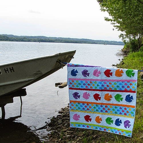 Go Fish Pattern quilt down by the river