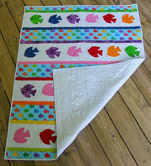 Go Fish Pattern with back showing quilting