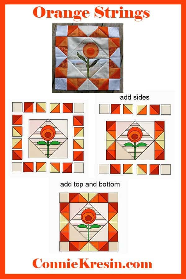 easy quilt tutorial for orange applique flower on a string quilt block
