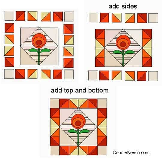 info-graphic for tutorial for orange string applique quilt block