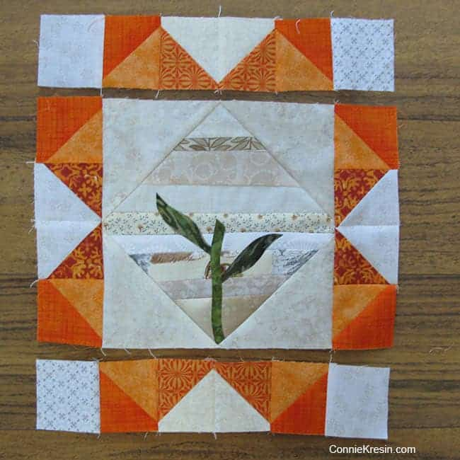 Orange Appliqued Flower Block Tutorial before adding flower