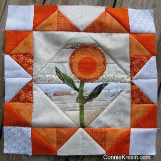 tutorial for orange string applique quilt block