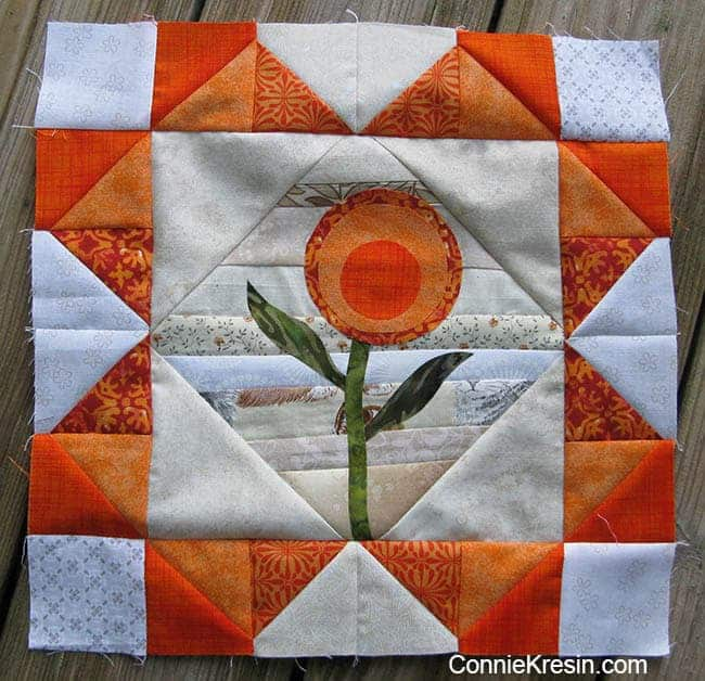 tutorial for orange string applique quilt block
