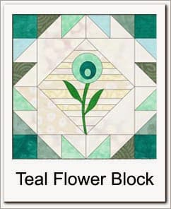 Teal String flower quilt block
