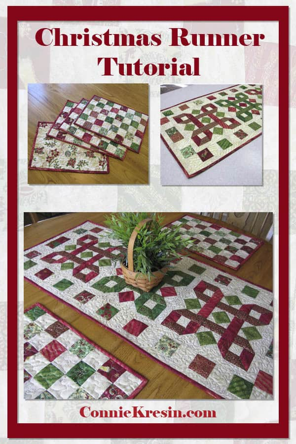 """Tis the Season Table Runner Tutorial"" Free Quilted Christmas Table Top Pattern designed by Connie from Connie Kresin"