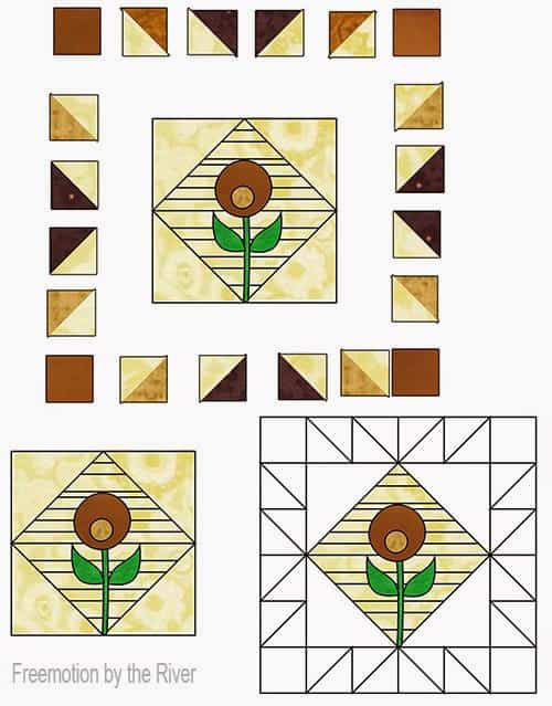 diagram for brown scrappy block at Freemotion by the River