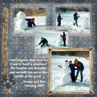 Building a snowman with my grandson
