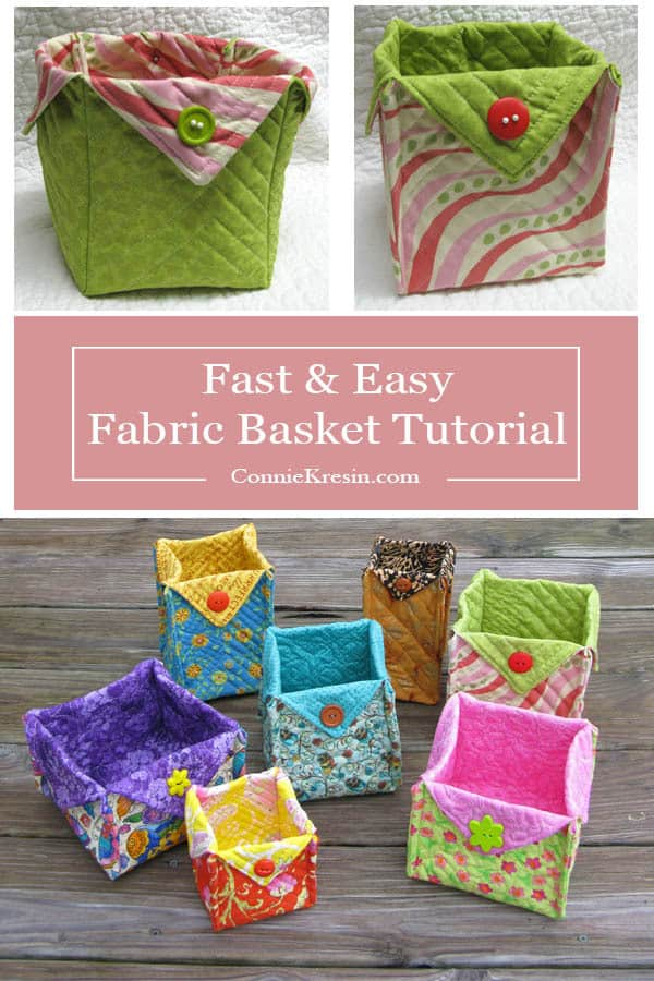 Fabric Basket tutorial is fast and easy to make in all kinds of sizes and fabrics, free pattern #basket #quilt #sewing #DIY #sewingtutorial
