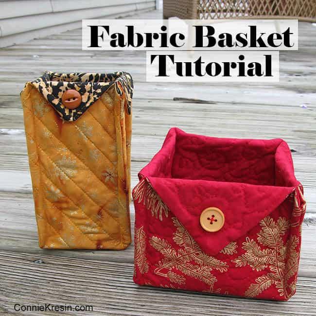 Fabric Basket tutorial 2 Christmas fabrics