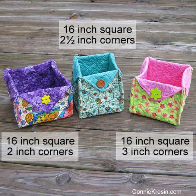 Fabric Basket tutorial three size to cut the corners