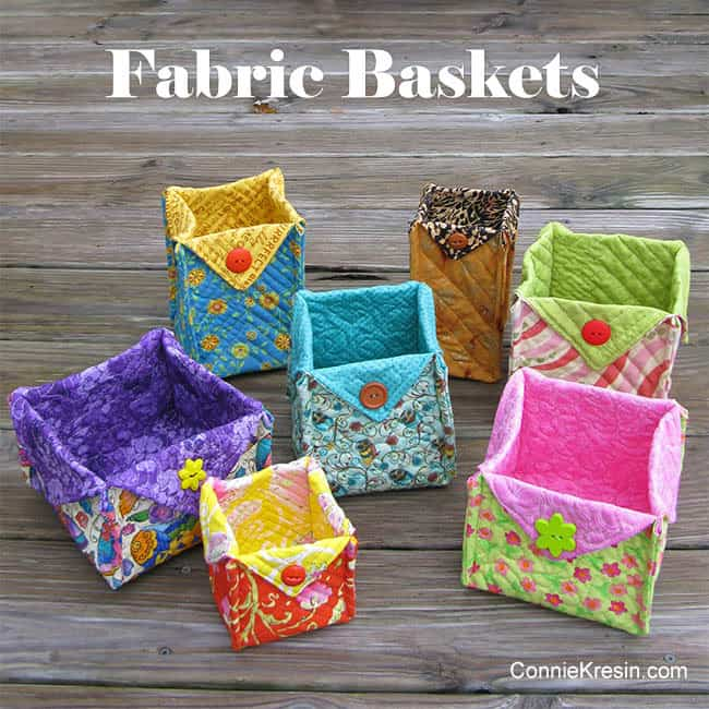 Fabric Basket tutorial showing seven different baskets