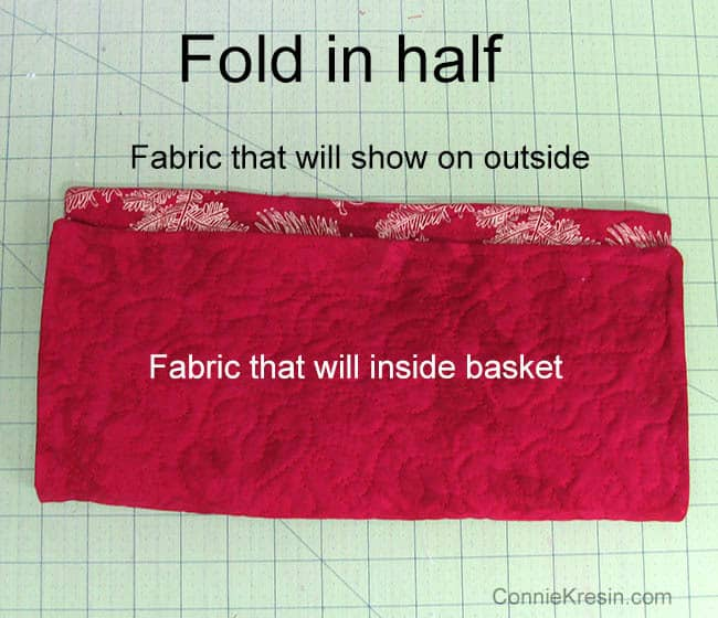 Fabric Basket tutorial Christmas fabric folded
