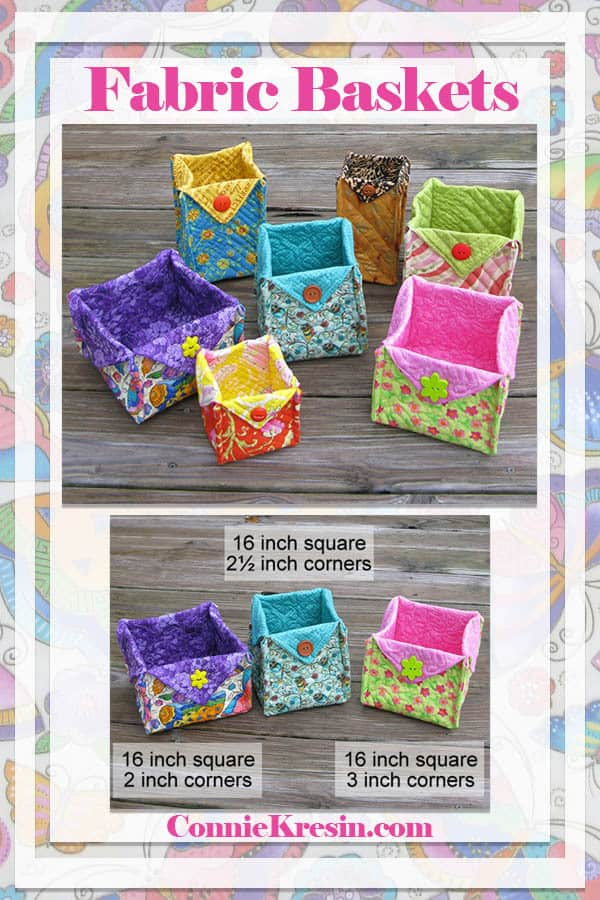 Fabric Basket tutorial to make different sizes of baskets
