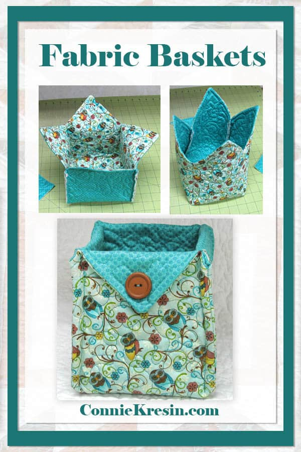 Easy to make fabric baskets in a variety of different sizes. Great for gifts