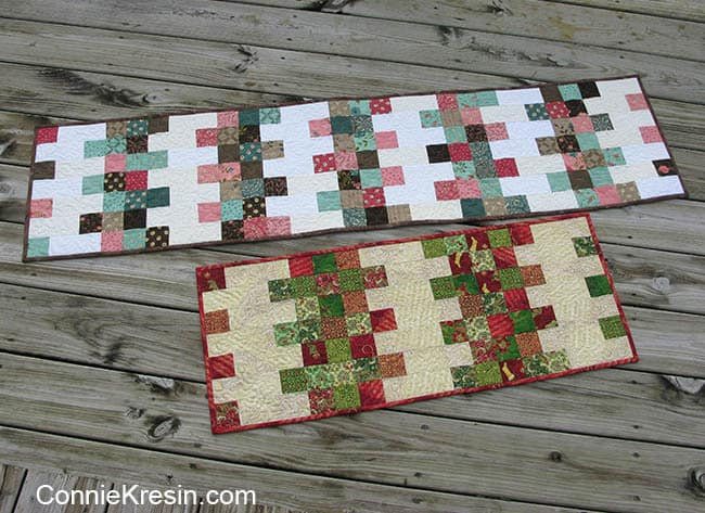 Mini Charm Christmas tablerunner easy to make in Christmas fabric or regular quilt fabrics