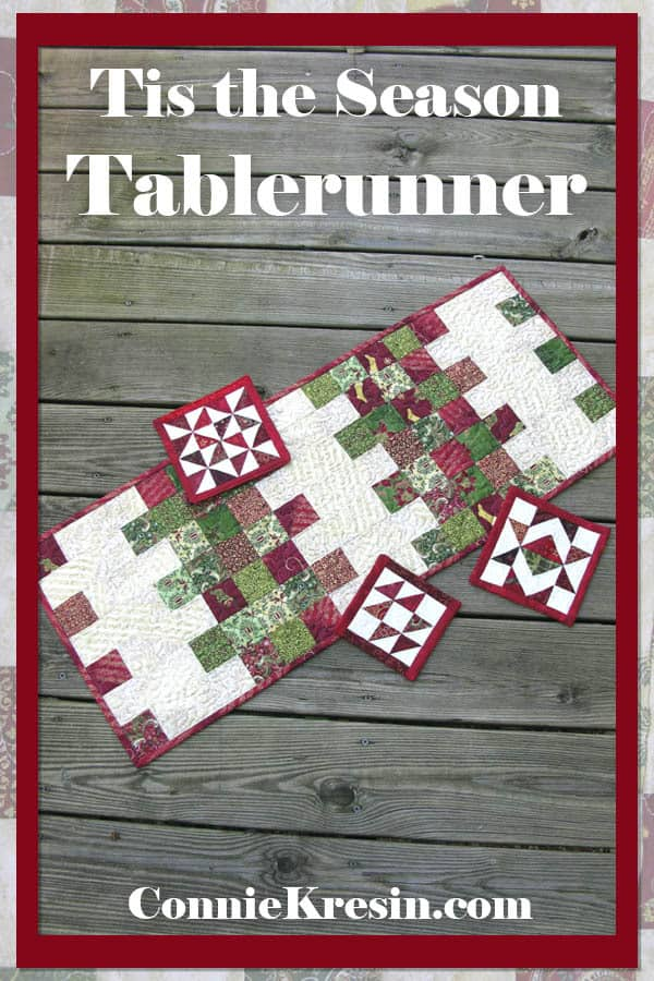 Mini Charm Christmas tablerunner using the easy quilt tutorial to make it