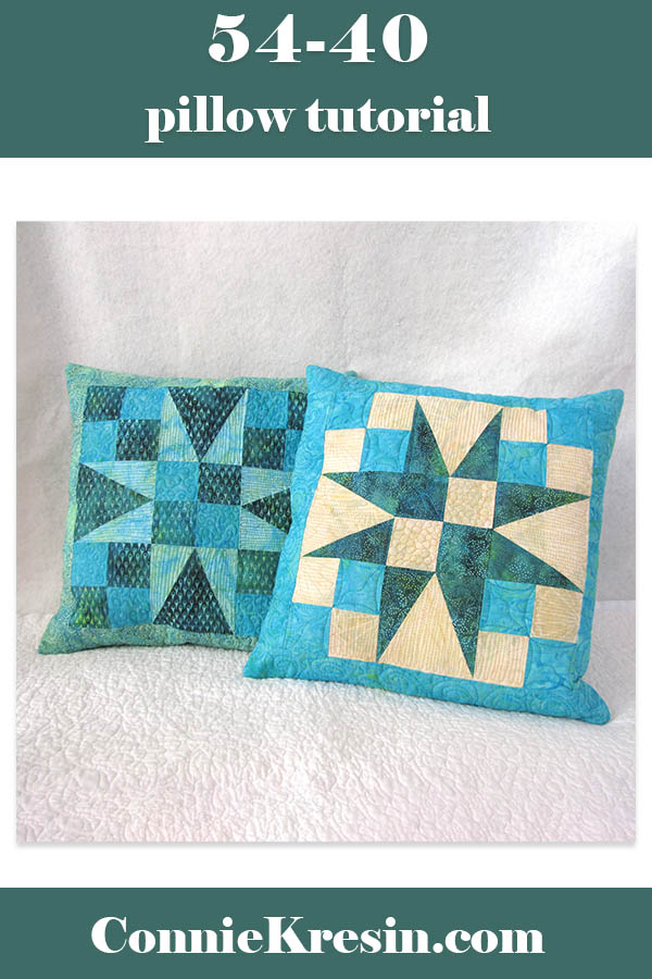 54-40 quilted pillow tutorial using the triangle in a square block with easy instructions