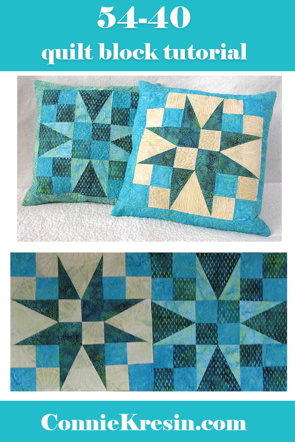 54-40 quilted pillow tutorial shown three different ways using batiks
