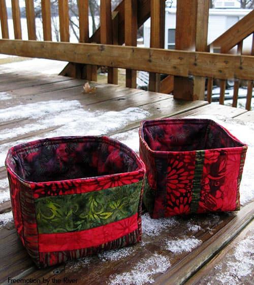 Batik Strippy Catch All Baskets