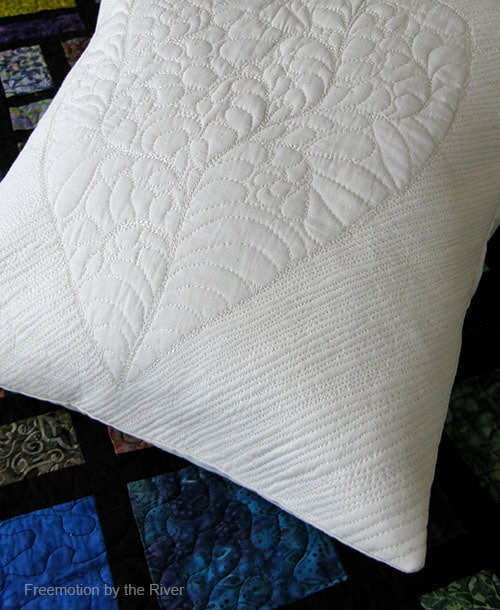 Quilted Feathered Heart Pillow Challenge