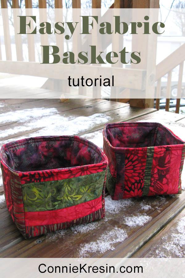 easy to make Strippy Basket tutorial baskets