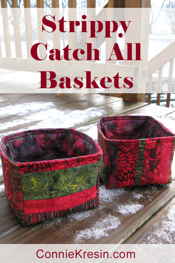 Strippy Catch All fabric baskets