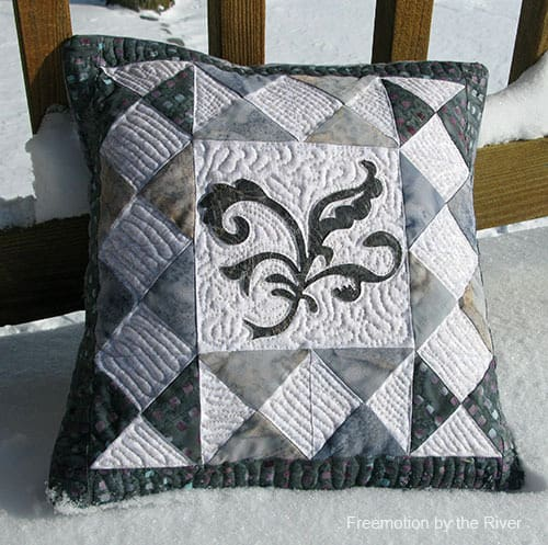 Batik Pillow in the snow