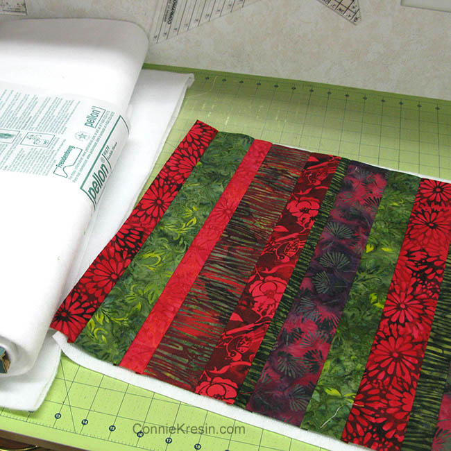 Strippy Basket tutorial piecing the fabric