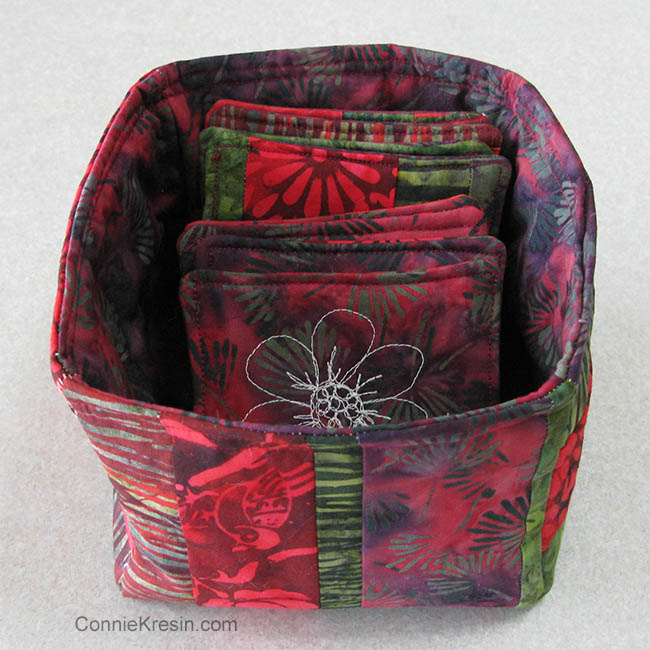 Batik Coasters and Fabric Basket Tutorial basket with coasters in it