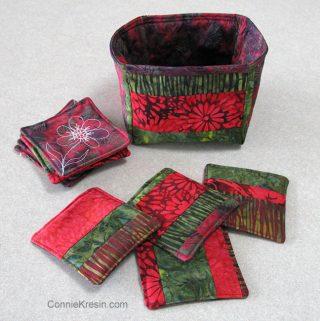 Batik Coasters and Fabric Basket Tutorial strip coasters