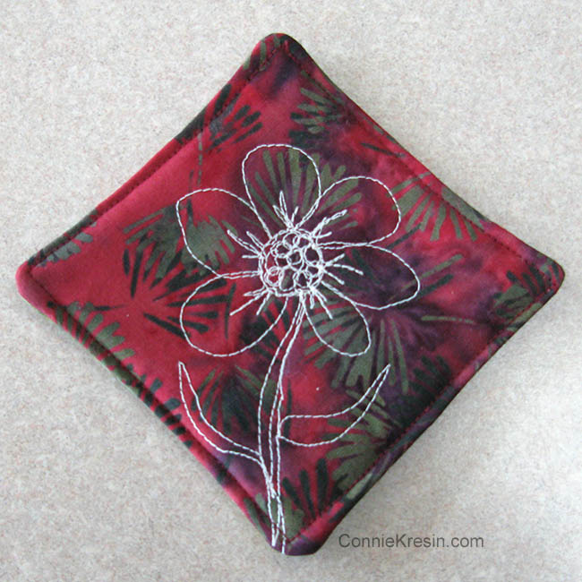 Batik Coasters and Fabric Basket Tutorial with free motion embroidered flower