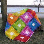 Rainbow Rail Fence Baby Quilt tutorial