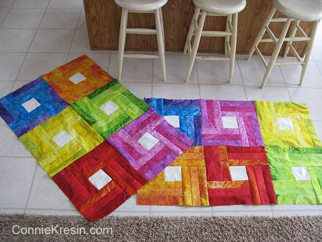 Rainbow Rail Fence baby quilt tutorial for 2 baby quilts