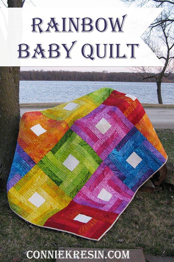 Rainbow Rail Fence baby quilt tutoral