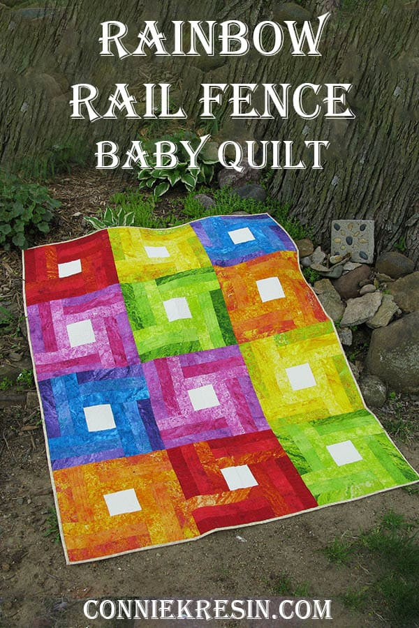 Rainbow Rail Fence quilt block with a twist quilt tutorial