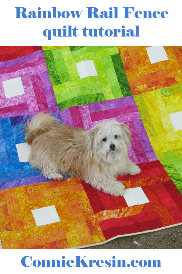 Rainbow Rail Fence quilt tutorial pets on quilts