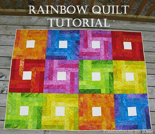 Fast and Easy Rainbow Quilt Tutorial made from 2 and a half inch strips