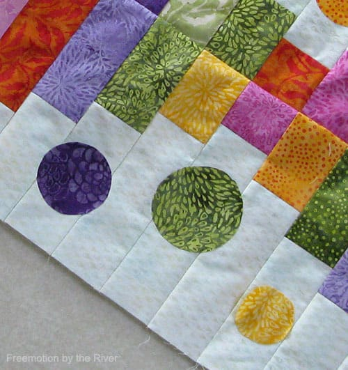 Close up of batiks used in runner