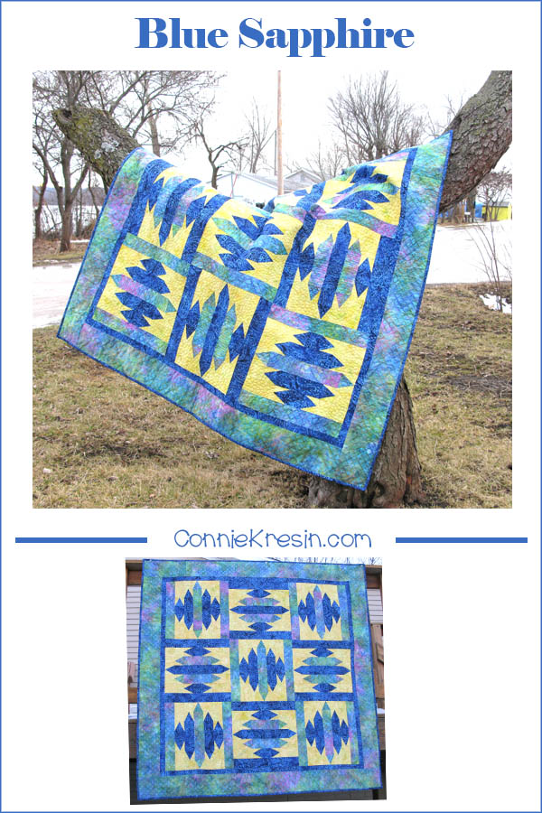 Blue Sapphire quilt pattern in batiks