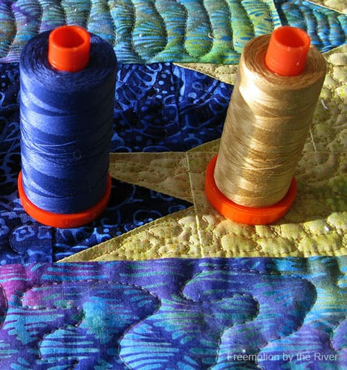 Blue Sapphire Quilt Pattern with Aurifil thread