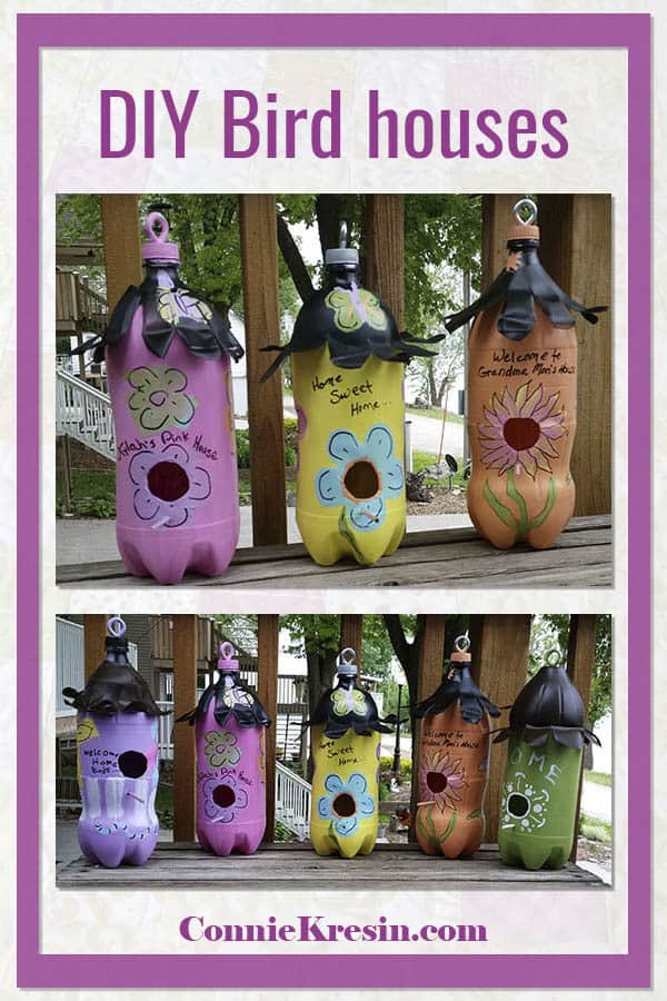 DIY soda bottle birdhouses tutorial