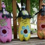 DIY soda bottle birdhouses tutorial write cute sayings on them
