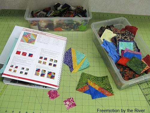 Batik scraps to use for the blocks in Farm Girl Vintage