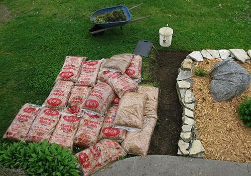 Landscape work on yard